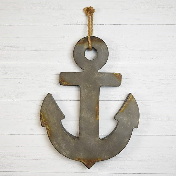 "Distressed Tin Anchor with Jute Hanging 24"" H"