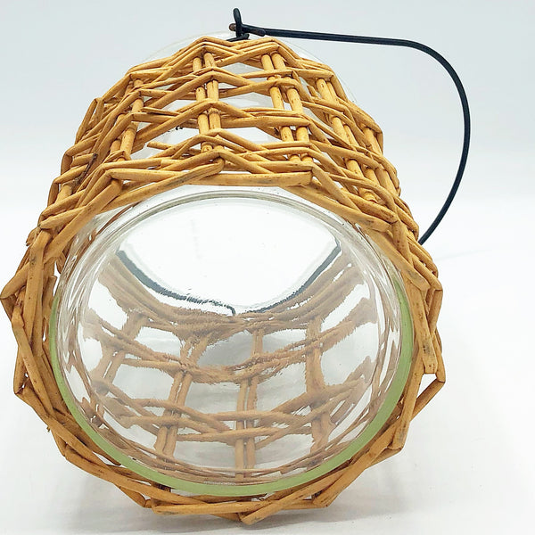 Glass Candle Lantern with Woven Cover