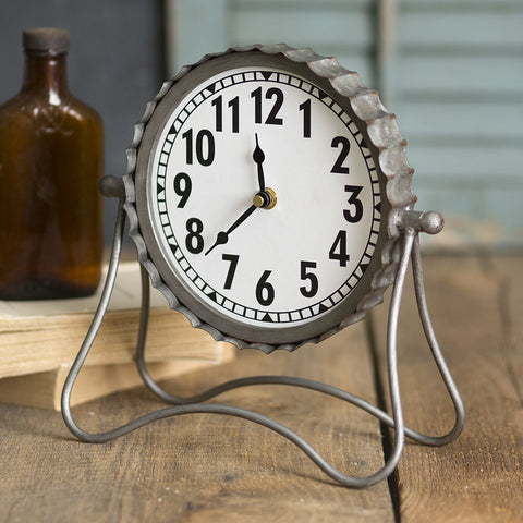 Industrial Galvanized Metal Desk Clock