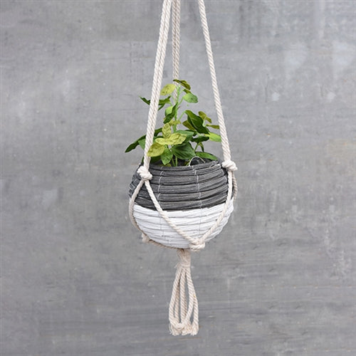 "Black and White 8"" Ball Hanging Planter"