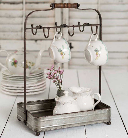 Rustic Tabletop Mug / Teacup Rack with Galvanized Metal Tray