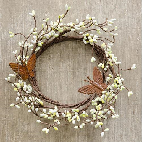 "Butterflies and Pip Berries Small 6"" Wreath"