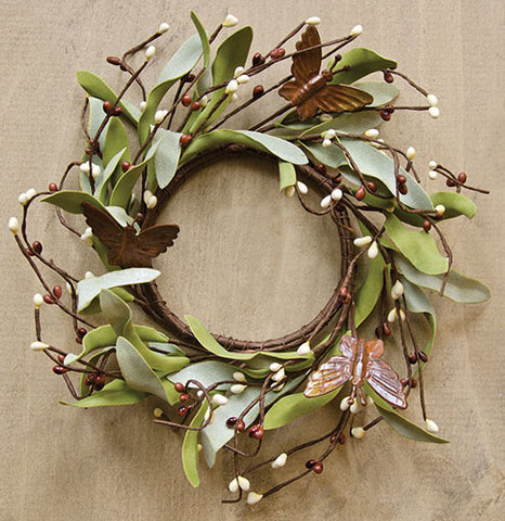 "Rusty Butterfly & Herb Foliage Faux 6.5"" Ring"