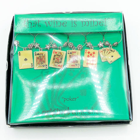 Set of 6 Poker Playing Cards Wine Charms That Wine is Mine