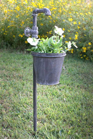 "Faucet Garden Stake with 7"" Diameter Planter"