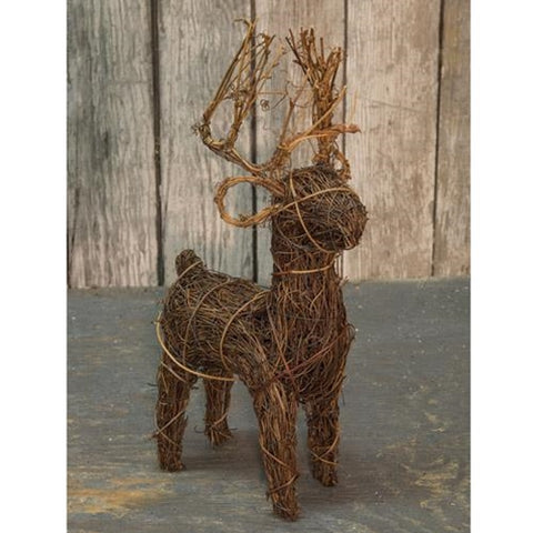 "Natural Angel Vine Reindeer 11"" high"