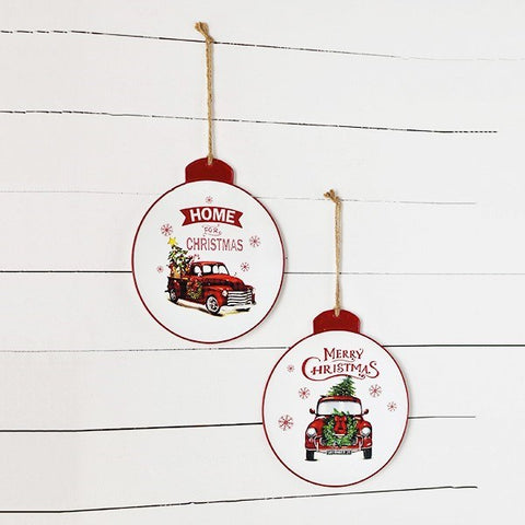 Set of 2 Christmas Ornament Shaped Truck Signs