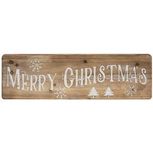 "Merry Christmas Natural Wood 32"" Sign"