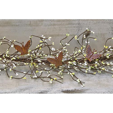 Rusted Butterfly and Green & White Pip 4 ft Garland