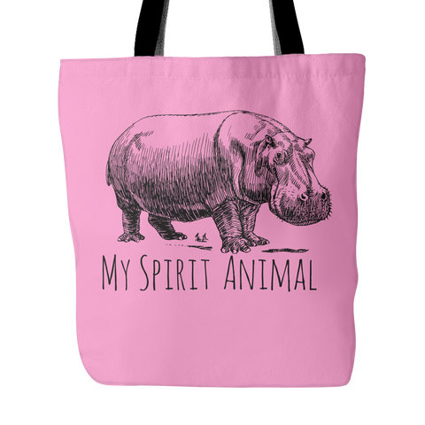 Hippo is My Spirit Animal Tote Bag hippopotamus
