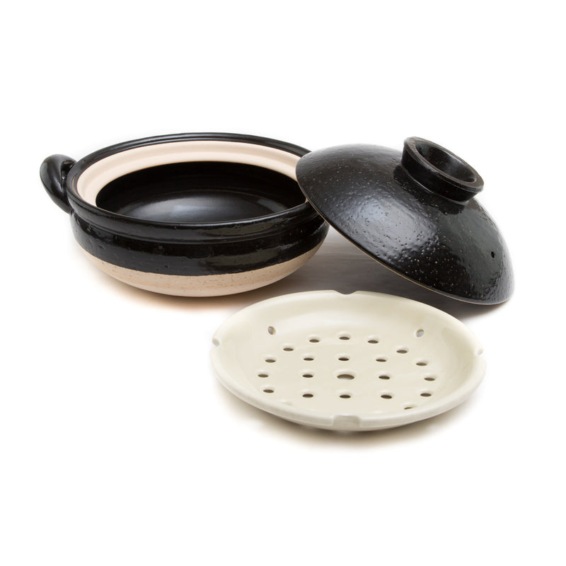 Mushi Nabe - Donabe Steamer - Large, Black-Clay Hot Pot-Nagatani-en-JINEN