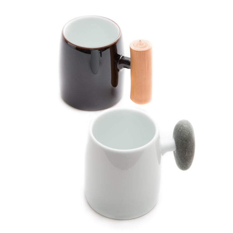 Wooden Handle Mug-Mug-Hakusan Porcelain-JINEN