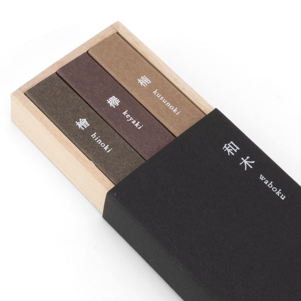 Waboku Incense - 3 Assorted Japanese Wooden Scents