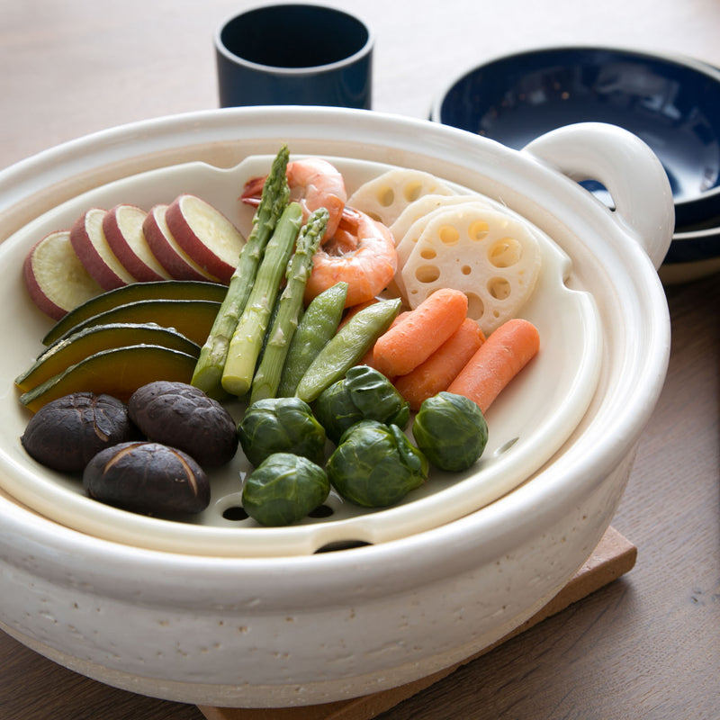 Mushi Nabe - Donabe Steamer - Medium, Black-Clay Hot Pot-Nagatani-en-JINEN