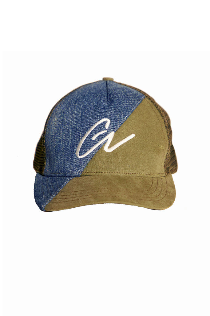 50/50 DENIM / ARMY TRUCKER HAT