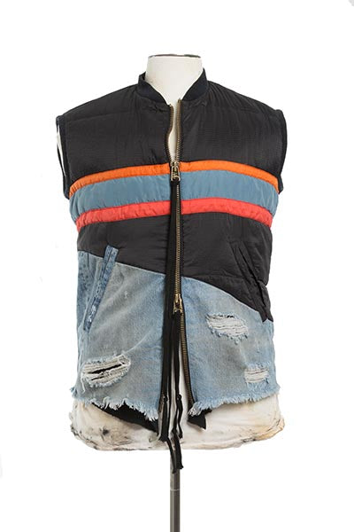 50/50 BLACK NYLON / DENIM VEST