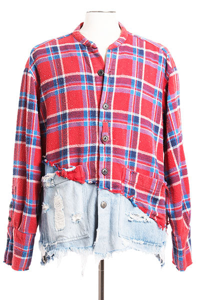 50/50 Red Plaid / Denim Studio Shirt