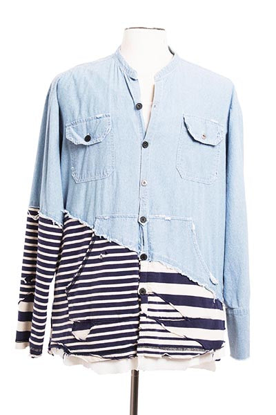 50/50 CHAMBRAY / JERSEY STRIPES STUDIO SHIRT
