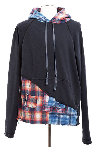 50/50 BLACK / MIXED PLAID HOODIE