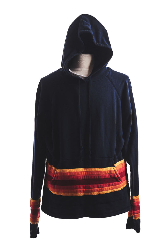 BLACK HOODIE WITH MIXED STRIPES