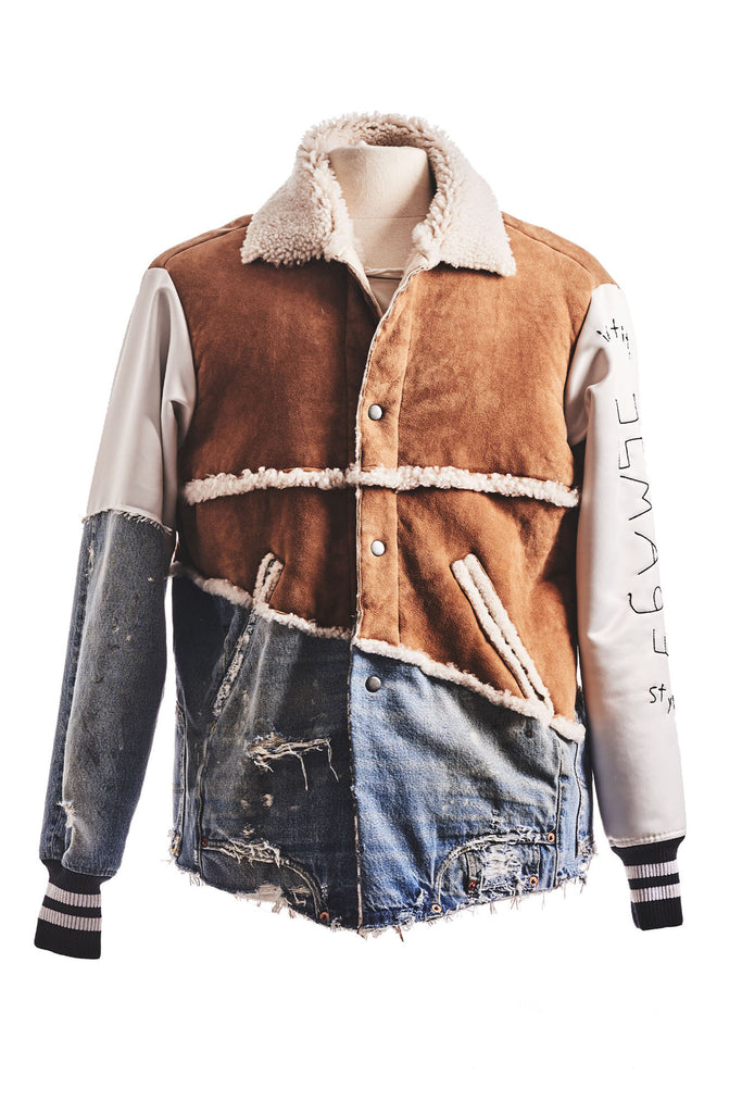50/50 SHEARLING / DENIM VARISTY JACKET