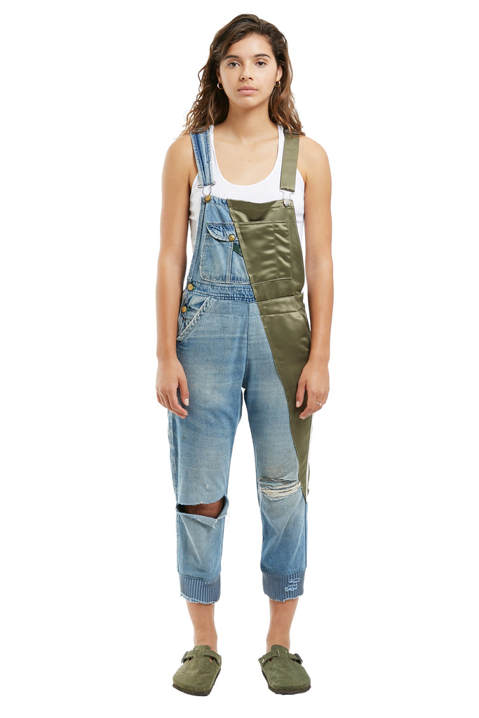 50/50 OVERALL (DENIM / ARMY SATIN)