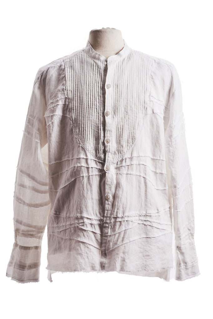MIXED WHITE LINEN STUDIO SHIRT