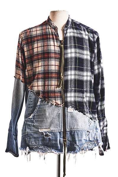 GL 50/50 FLANNEL / DENIM ZIP STUDIO SHIRT