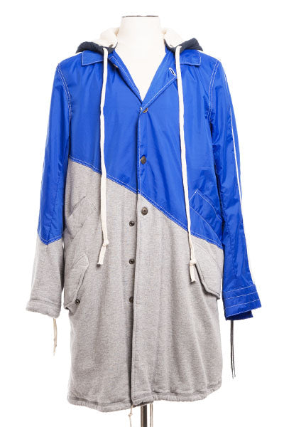 50/50 BLUE NYLON / TERRY FISHTAIL PARKA