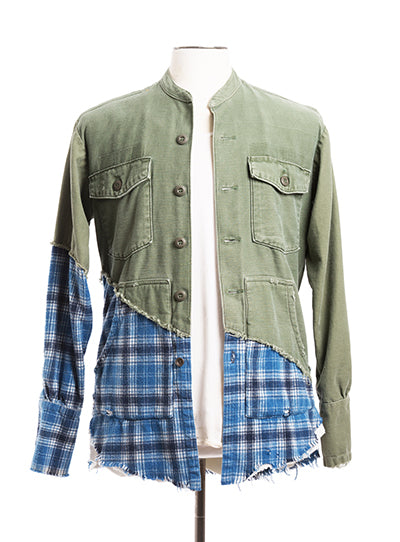 50/50 ARMY / BLUE PLAID STUDIO SHIRT