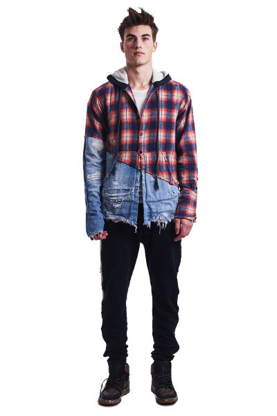 50/50 ORANGE PLAID / DENIM HOODED STUDIO SHIRT