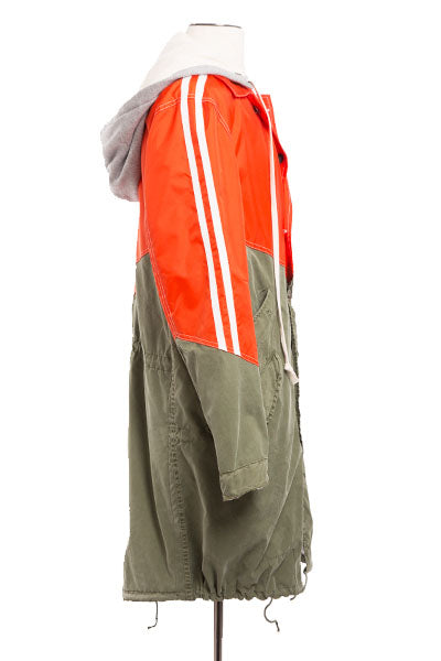 50/50 ORANGE NYLON / ARMY FISHTAIL PARKA