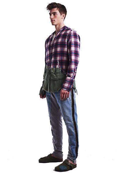 50/50 Red Plaid / Army Studio Shirt