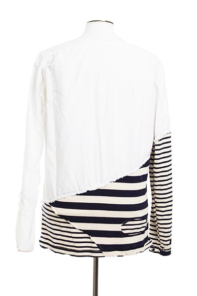 50/50 WHITE OXFORD / JERSEY STRIPES STUDIO SHIRT