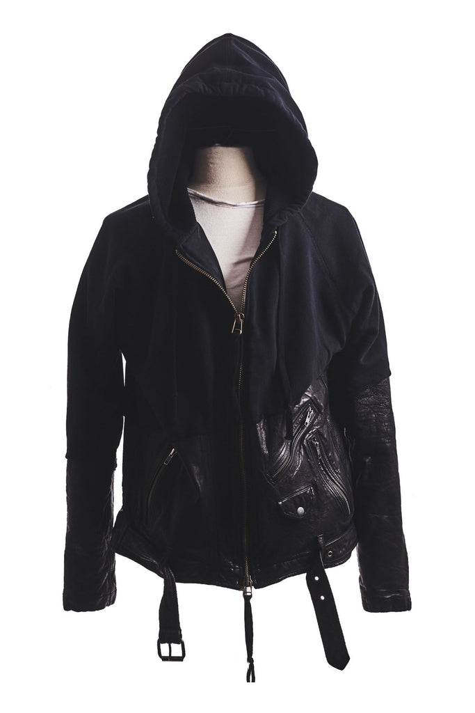 50/50 BLACK LEATHER ZIP HOODIE
