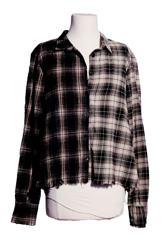 MIXED BLACK PLAID CHRISTIAN STUDIO SHIRT