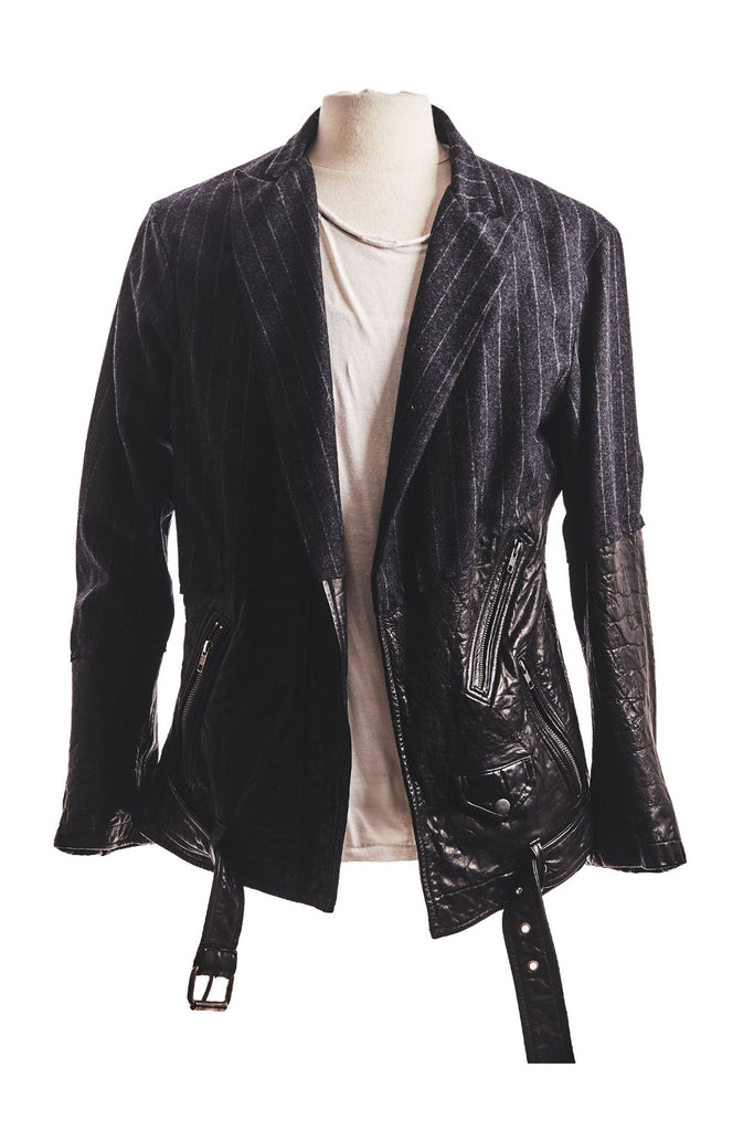 50/50 CHARCOAL CHALK STRIPE/LEATHER BLAZER