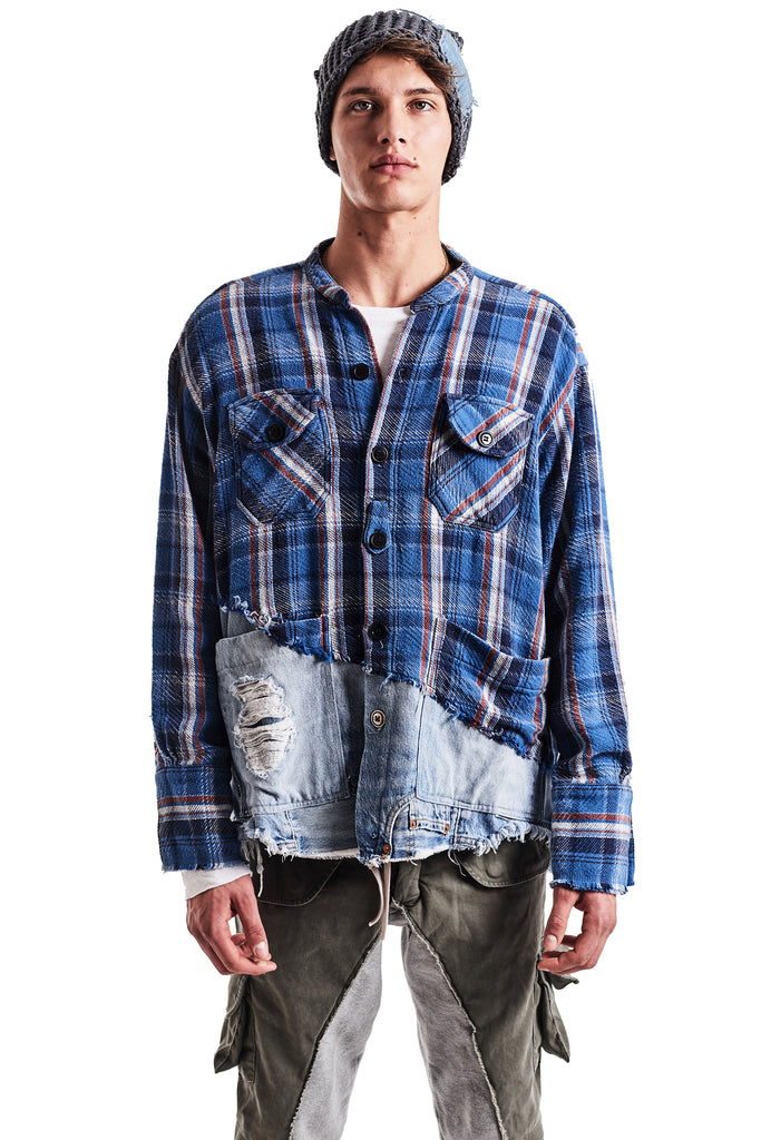 50/50 BLUE PLAID/DENIM BOXY STUDIO SHIRT