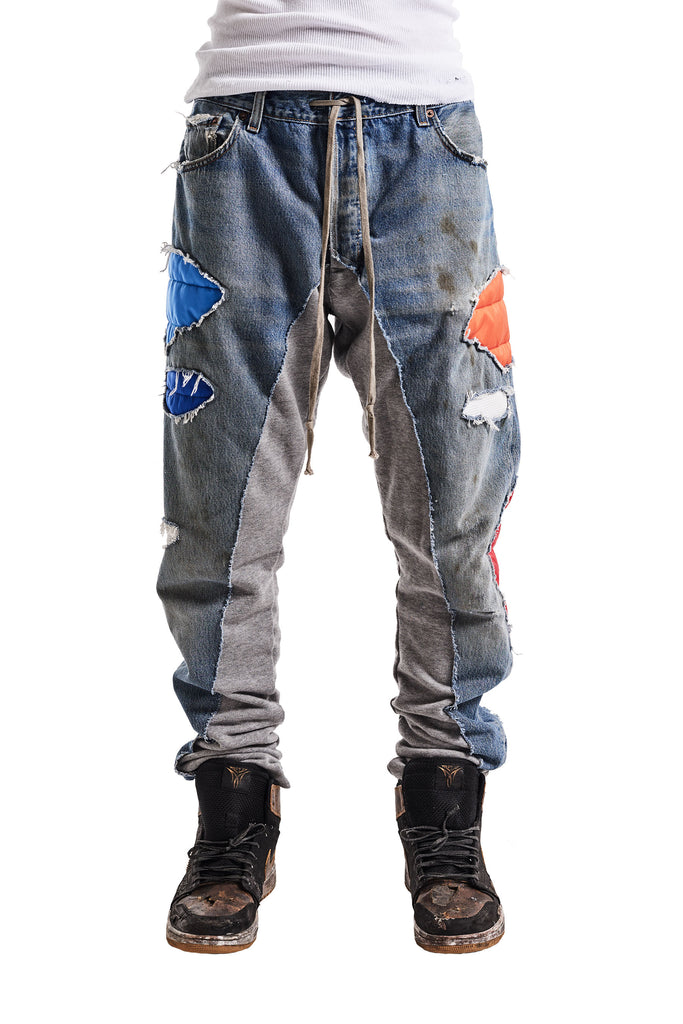 50/50 DENIM/TERRY NYLON PATCH LONG PANT