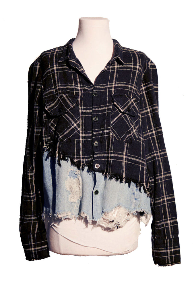 50/50 BLACK PLAID/DENIM CHRISTIAN STUDIO SHIRT