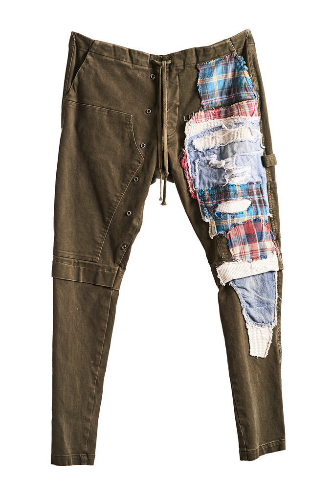 ARMY/PATCHWORK STRETCH WORK PANT