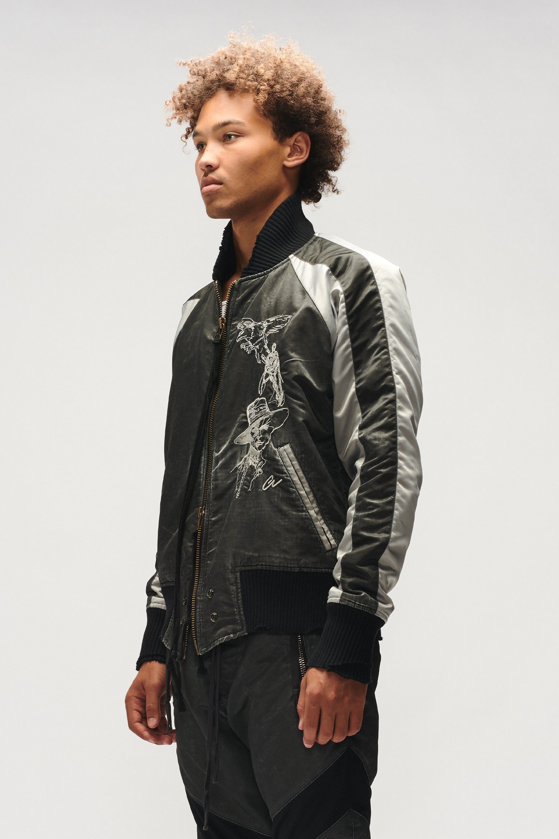 WASHED SATIN SOUVENIR FLIGHT JACKET (CARBON)