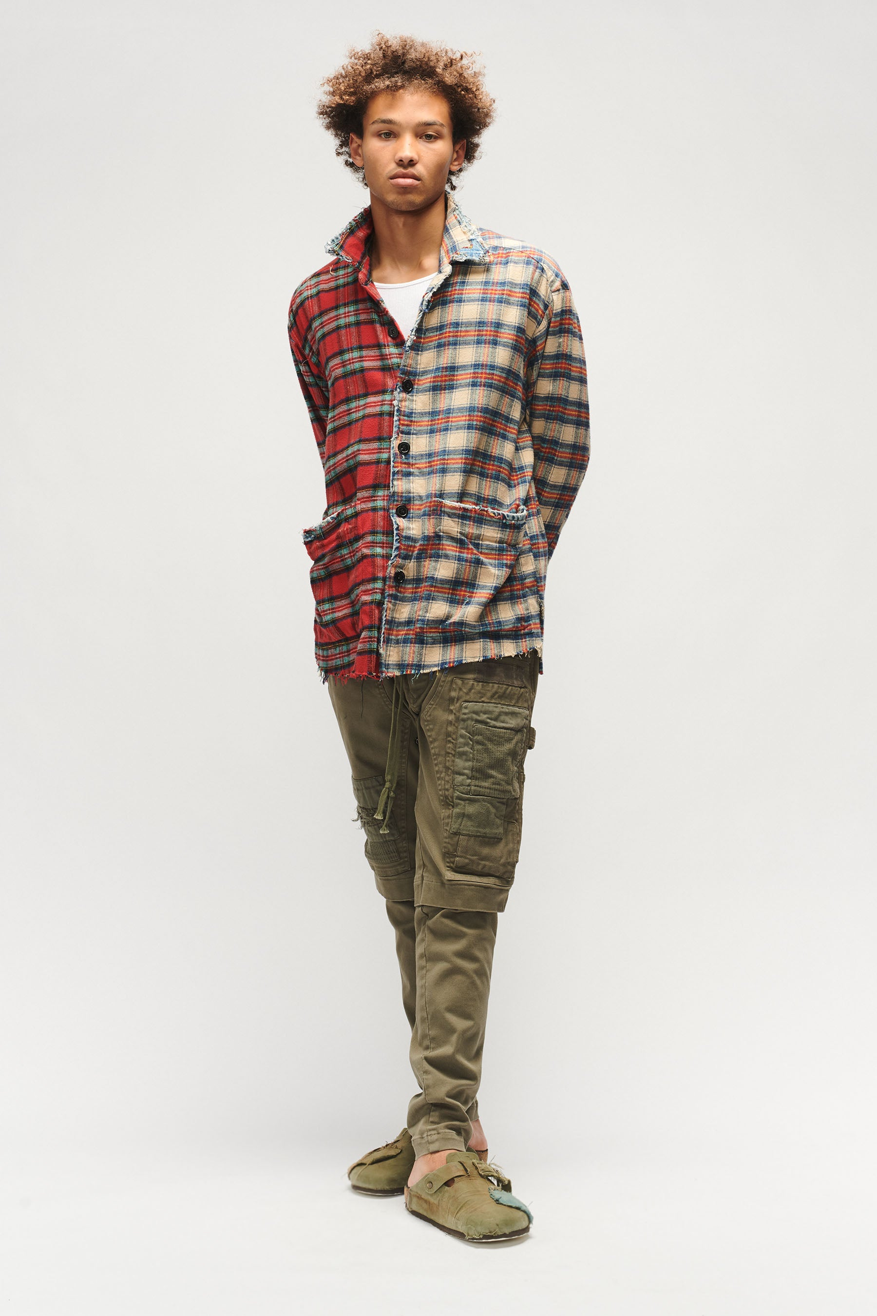 PATCHWORK STRETCH DENIM WORK PANT