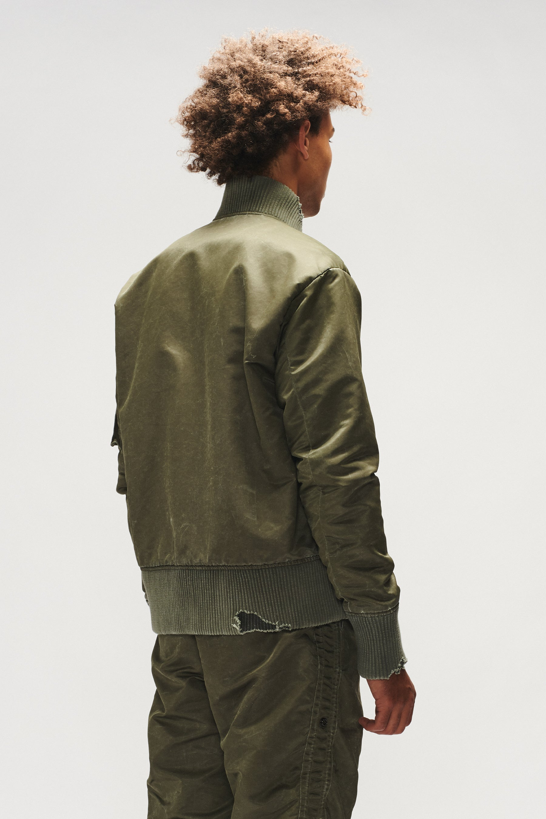 WASHED SATIN FLIGHT JACKET (ARMY)