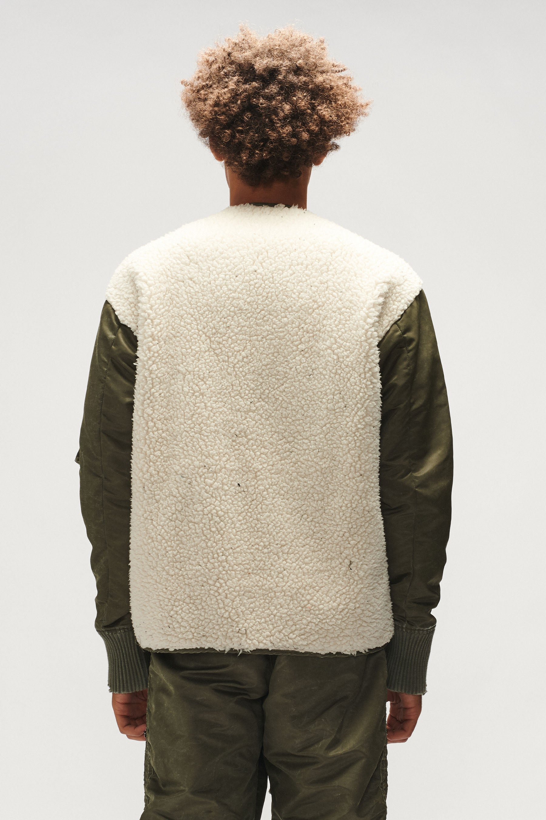 SHERPA / WASHED SATIN MODERN FLIGHT JACKET