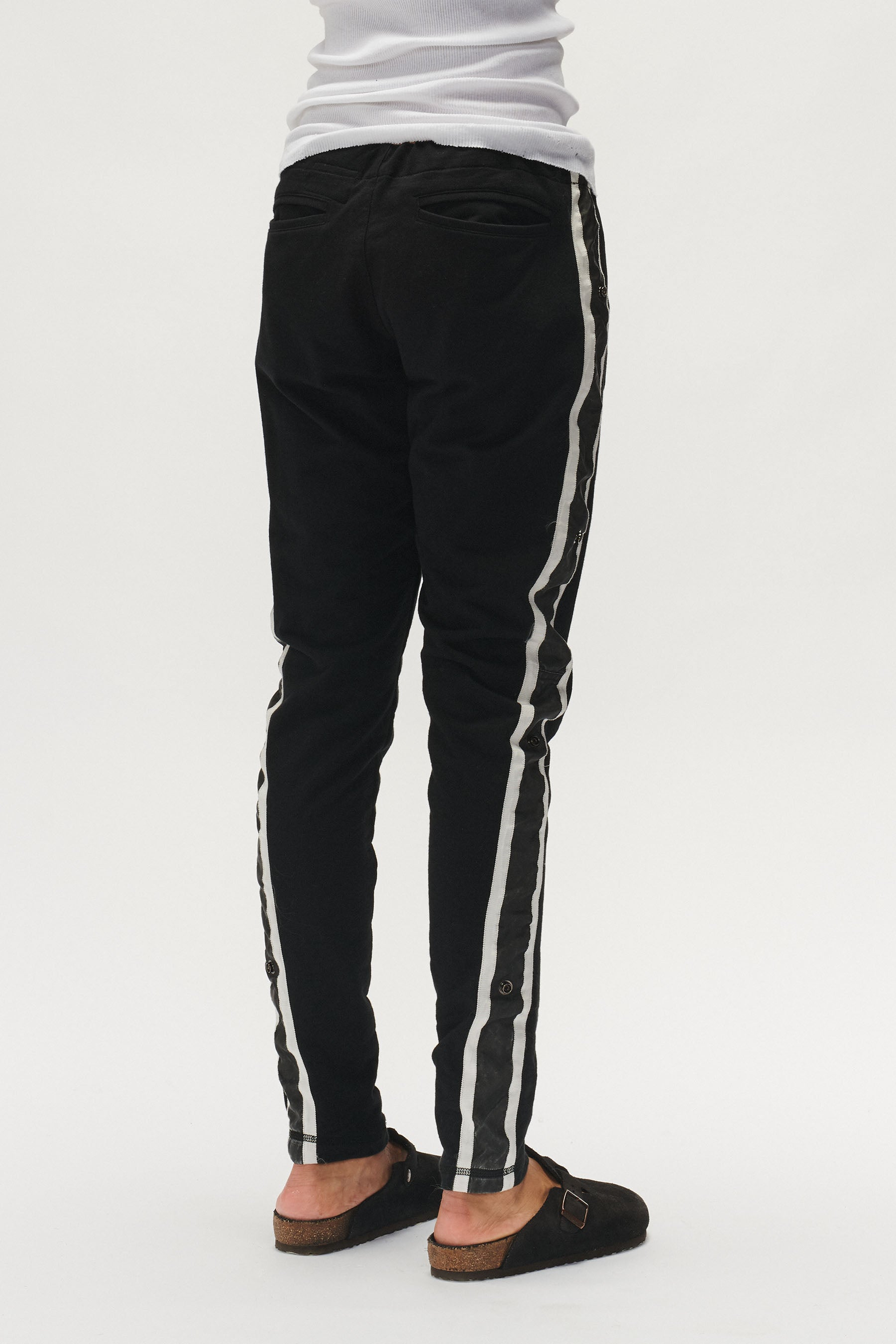 BLACK TERRY SATIN SIDE STRIPE SWEAT