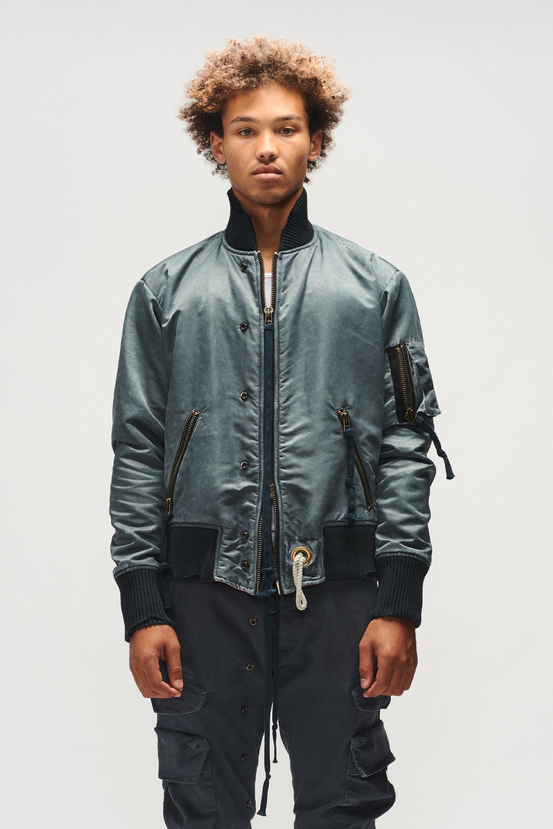 WASHED SATIN FLIGHT JACKET (STEEL BLUE)