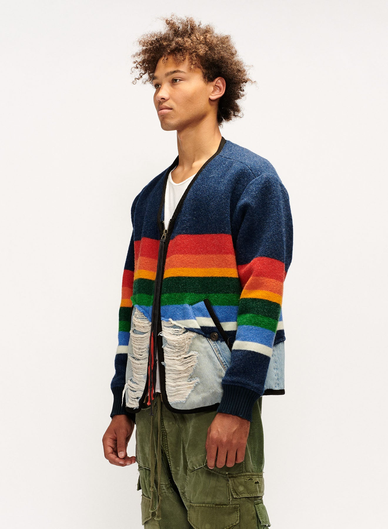 STRIPED BLANKET/DENIM 50-50 MODERN FLIGHT JACKET