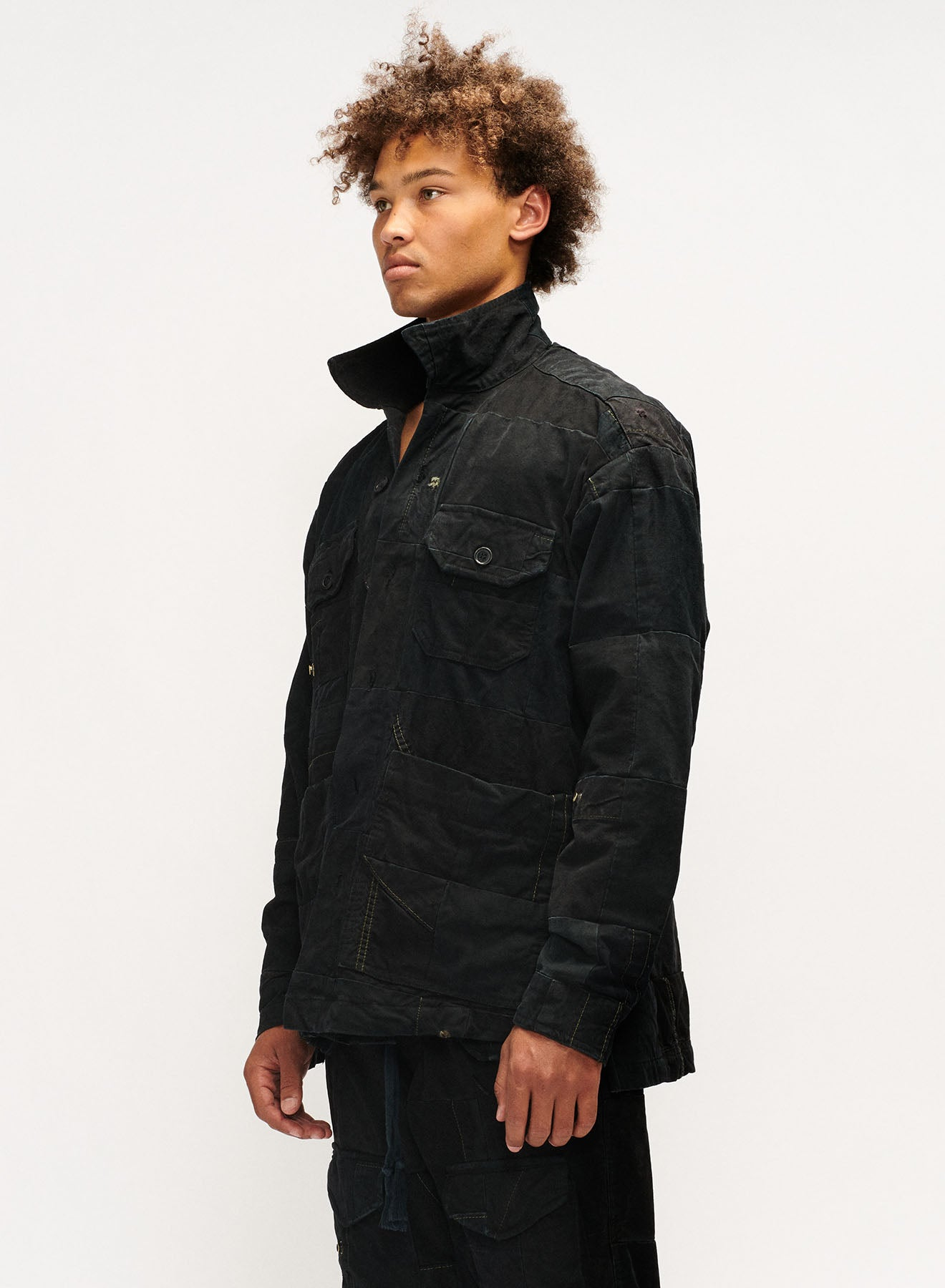 TENT SCRAPWORK BOXY WORK JACKET (BLACK)