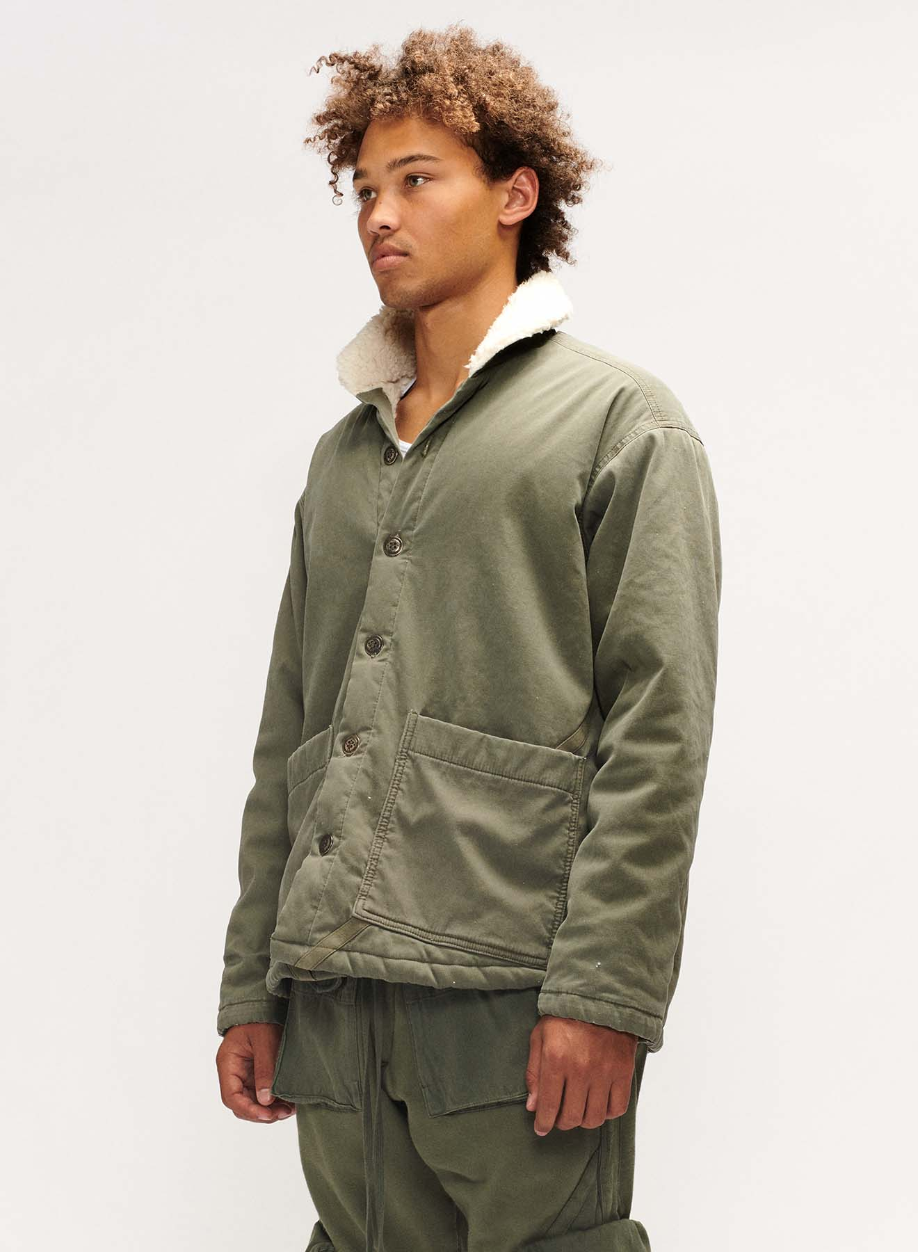 ARMY SHERPA-LINED SHAWL COLLAR BOXY
